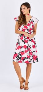 TEABERRY FIXED WRAP DRESS
