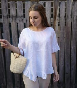 WORTHIER LINEN TOP WITH BACK BUTTONS
