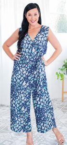 BEE MADDISON V NECK CROSSOVER 7/8TH LENGTH JUMPSUIT