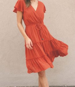 TEABERRY CROSSOVER SWING DRESS